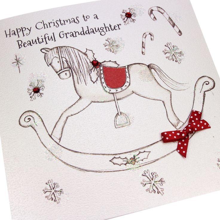 Handmade Christmas Card Luxury Glittered Embossed Red Polka Dot Bow Gems Rocking Horse - 'Happy Christmas to a Beautiful Granddaughter'