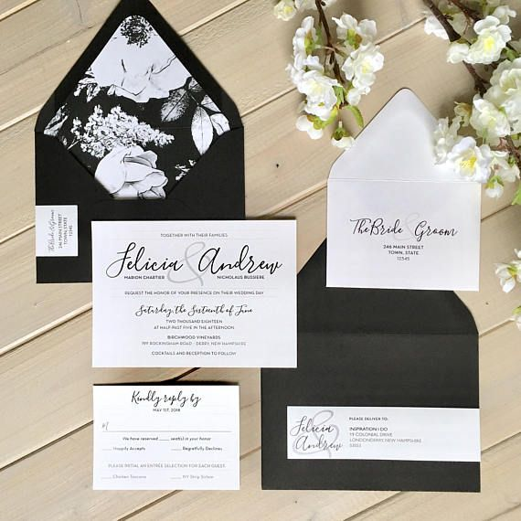 Black and White Wedding Invitations with Floral Liner by Inspiration I Do on Etsy: www.etsy.com/shop/inspirationidodesign