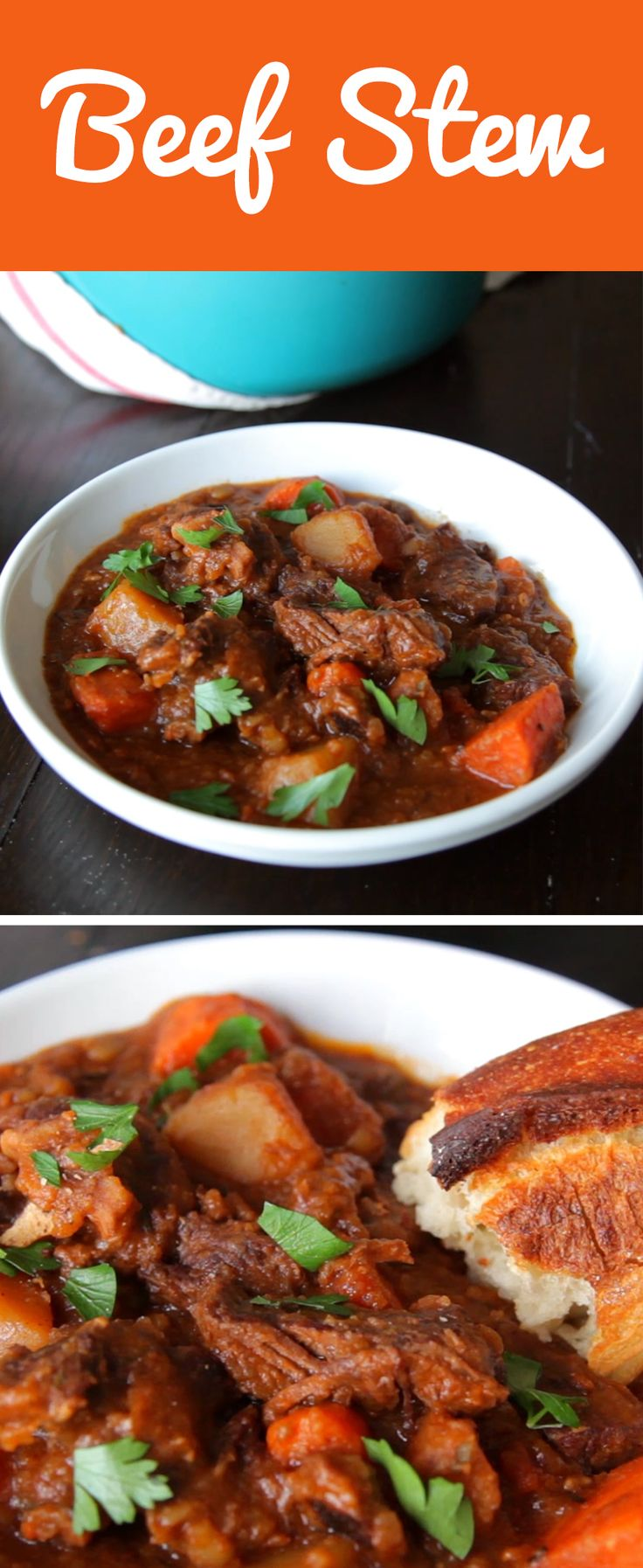 Classic beef stew. Oxtail served more as a flavoring agent for the stew than as another component to eat.