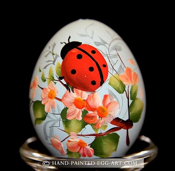 Hand-Painted-Egg-Art. Designs by Margit Jakab.Ladybug Beetle
