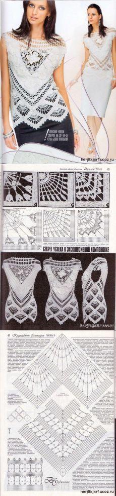 Вязаная крючком кружевная блузка - кофточки.майки топы. - вязание крючком для женщин.
