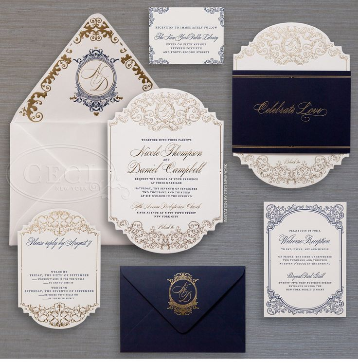 luxury wedding invitations by ceci new york wedding navyblue goldfoil diecut - Luxury Wedding Invitations