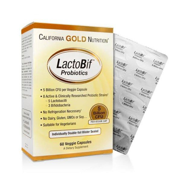 BestSeller: LactoBif Probiotics, 5 Billion CFU, 60 Veggie Caps. 8 Active & Clinically Researched Probiotic Strains 5 Lactobacilli 3 Bifidobacteria. LactoBif contains select probiotic strains that have been clinically studied to be extremely resistant to low pH and gastrointestinal conditions (e.g. acid, bile, pepsin and pancreatin), as well as adhere to the intestinal cell lines.