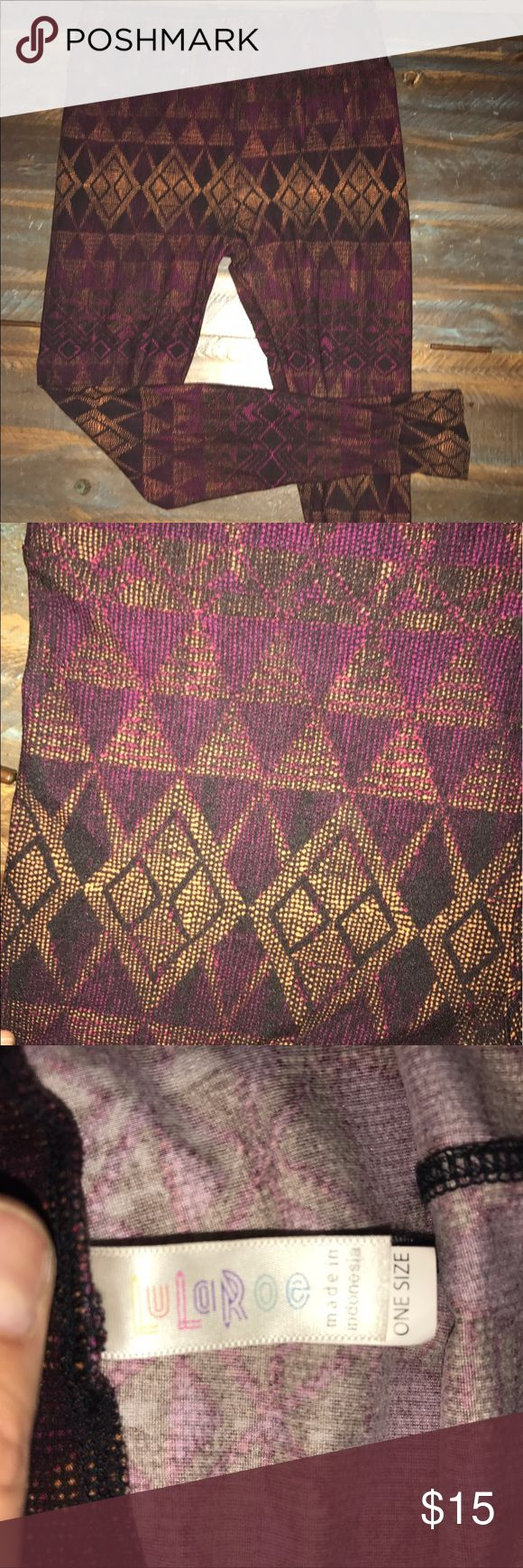 LulaRoe one size Aztec Print leggings Worn and washed once. No flaws. Beautiful shades of purple/burgundy/mustard/black. LuLaRoe Pants Leggings