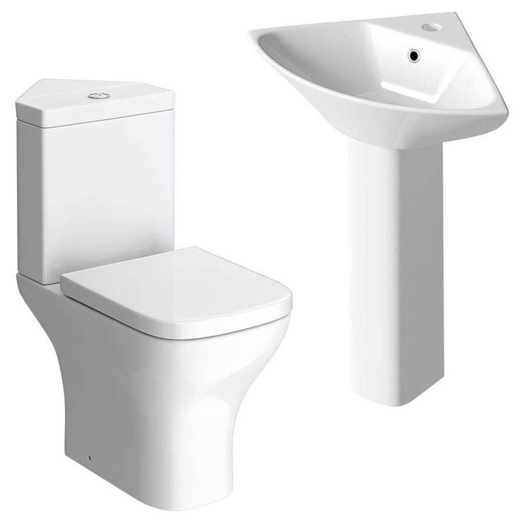 Venice 4-Piece Cloakroom Suite, a stylish corner cloakroom suite. Ideal for small spaces, features a corner toilet and basin. Now available at Victorian Plumbing UK