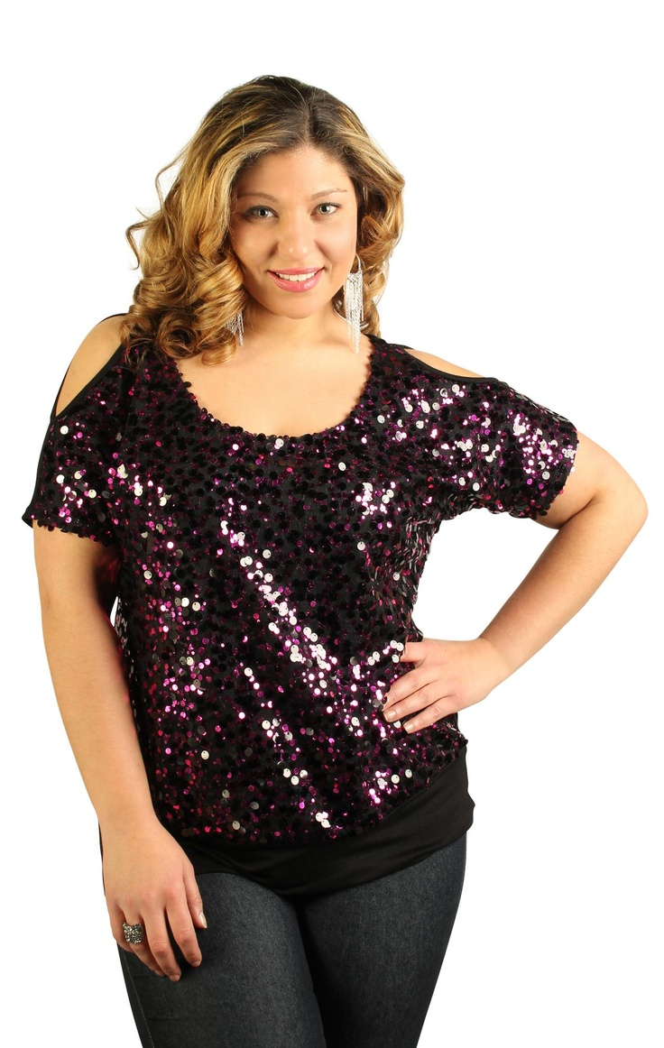 plus size sequin top with cold shoulder my style