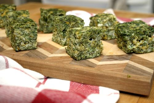 Cheesy Spinach Squares (have made it) A yummy appetizer of dense ...