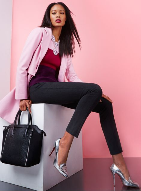 The Single-Breasted Wool Blend Coat, Colorblock Blouse & The SuperStretch Legging.