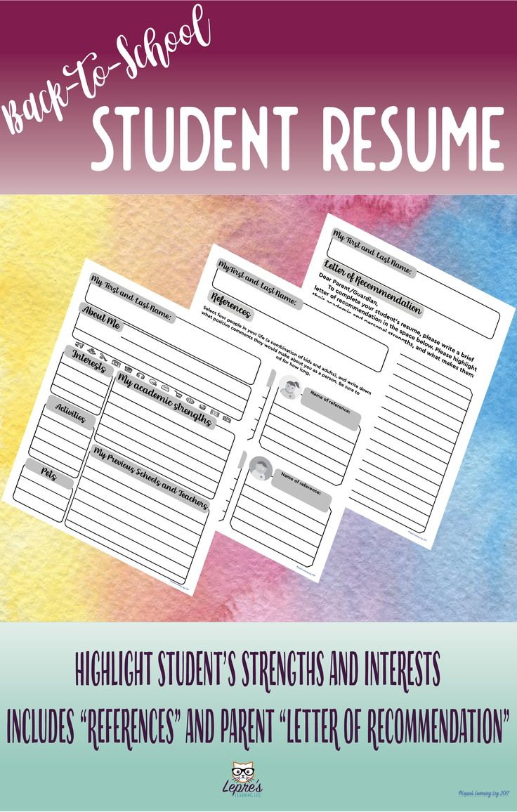 "This back-to-school activity is designed to allow you to get to know your students through the format of a resume. Instead of work experience and contact information, students are asked to describe their various interests, academic strengths, and education. You can model how you would like them to complete this, such as in paragraphs, bullet points, etc. This set includes:  - An ""About Me"" resume page - A personal references page - A letter of recommendation page"