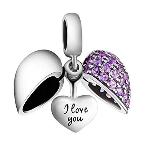 I Love You - Silver Heart Crystal Charm Bracelet Bead - Sterling Silver 925 Blue CZ Crystals - Gift boxed P01YI