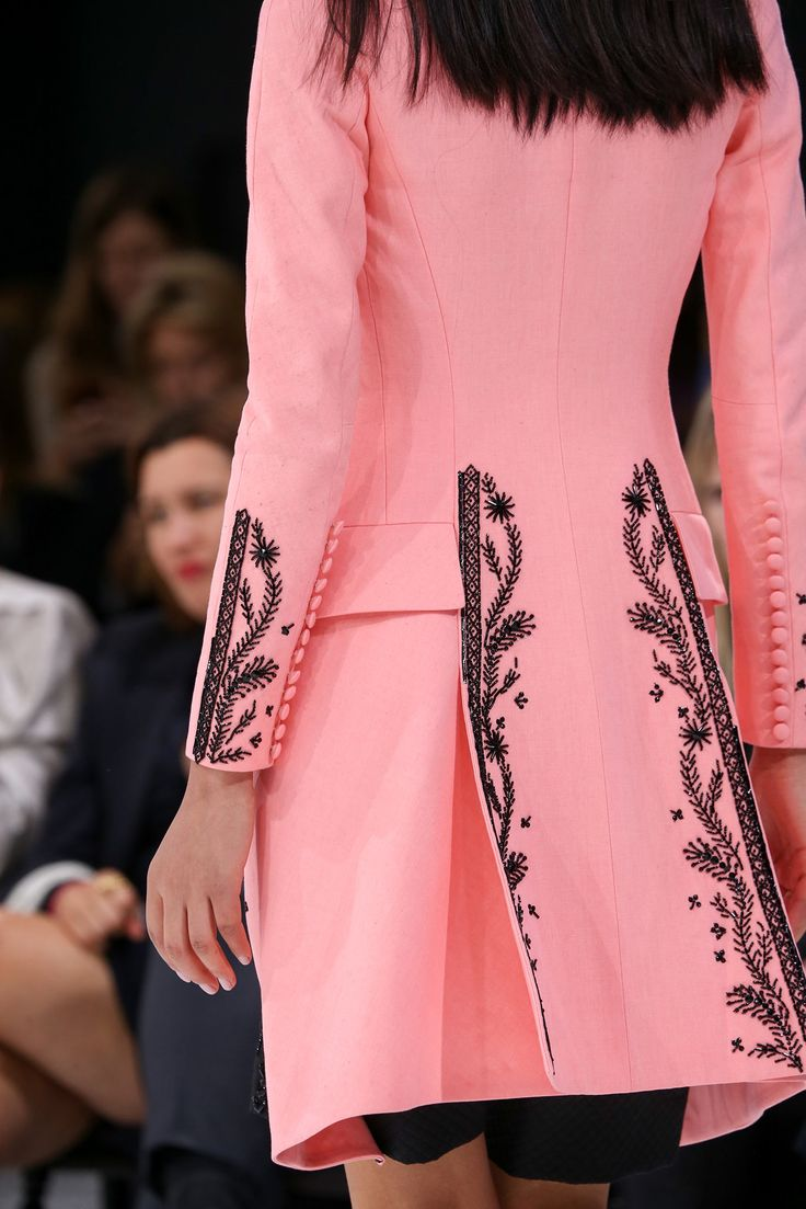 Spring 2015 Ready-to-Wear - Christian Dior  -- Back detail of pink coat with embroidered edging and borders.