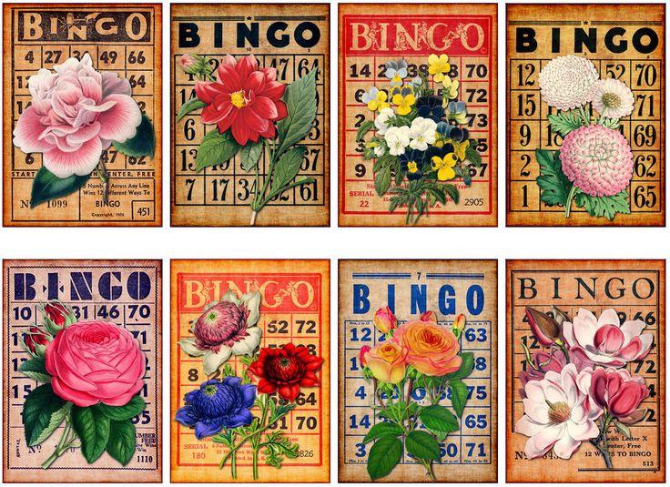 8 FLOWER BINGO - Vintage Style Scrapbook PAPER CRAFT CARD TAGS #HodgePodgeLaneLDSHANK