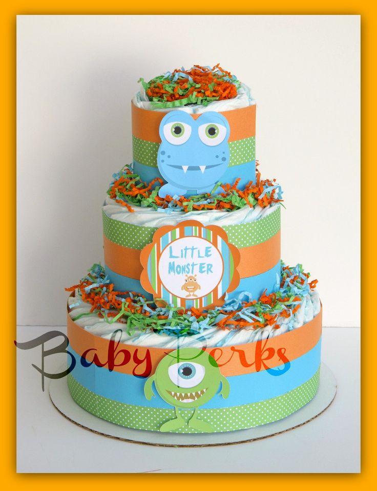 Little Monster Diaper Cake, Little Monster Baby Shower , Baby Shower Decorations. $49.00, via Etsy.