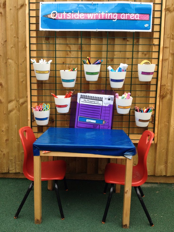 Outside writing area using Twinkl resources