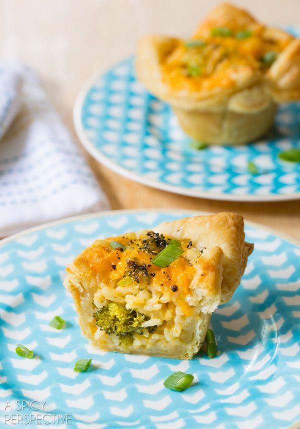 Easy Broccoli Cheese Rice Casserole MINI PIES! #sidedish #lunchbox #kids