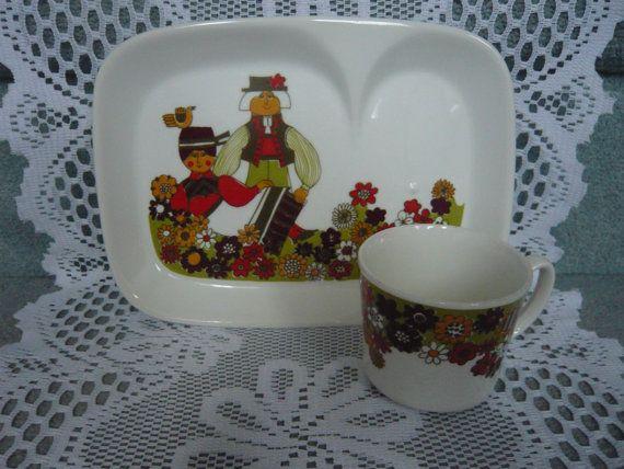Vintage Figgjo Flint Turi Design FOLKLORE Luncheon door TeacupsNMore, $75.00