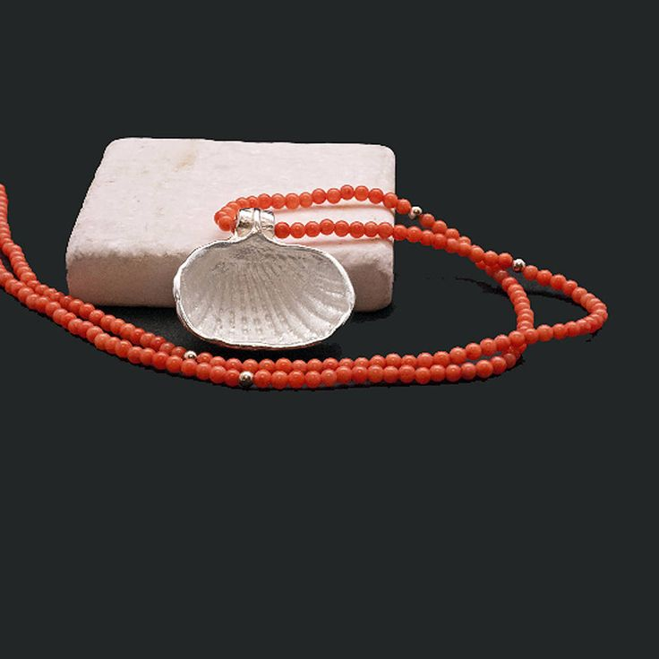Pink Coral and Sterling Silver Sea Shell Pendant Necklace, Coral Jewelry, Natural Coral Necklace, Dainty Sea Necklace, Santorini Wedding