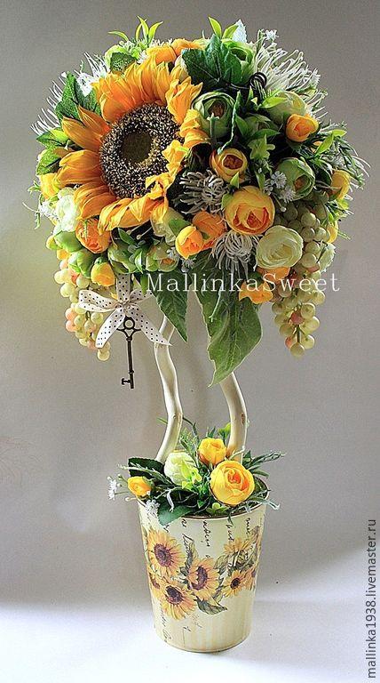 """Купить Топиарий, дерево счастья """"Бабье лето"""" - желтый, искусственные цветы, топиарий дерево счастья"""