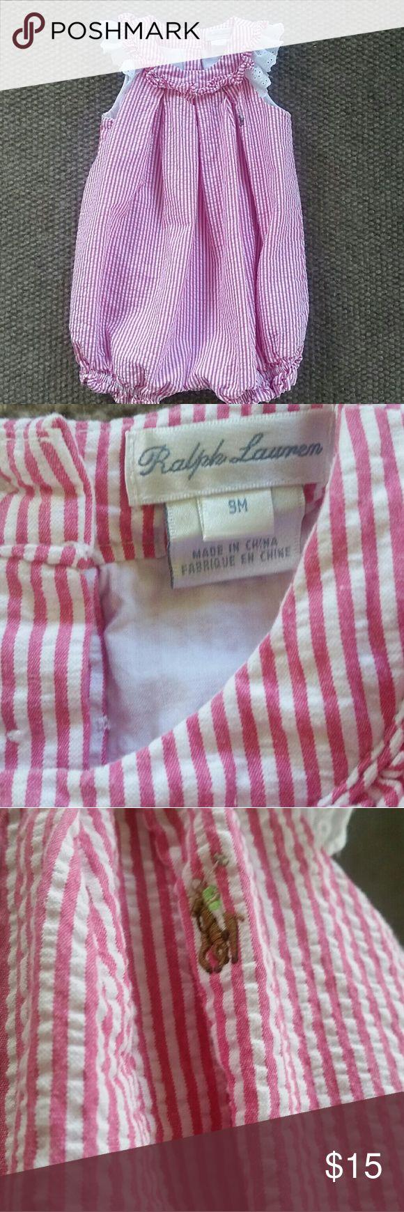 Baby girl jumpsuit. Beautiful seersucker jumpsuit for baby girl.  Excellent condition!  Perfect for summer! Ralph Lauren One Pieces Bodysuits