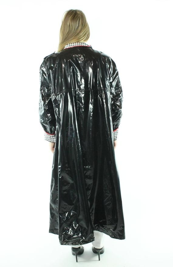 Reserved For Dz Please Do Not Buy 80s Black Vinyl Raincoat Long Shiny Jacket Vintage 1980s Large L Xl X Large Wippette Kenn Sporn Shiny Jacket Black Vinyl Vinyl Raincoat