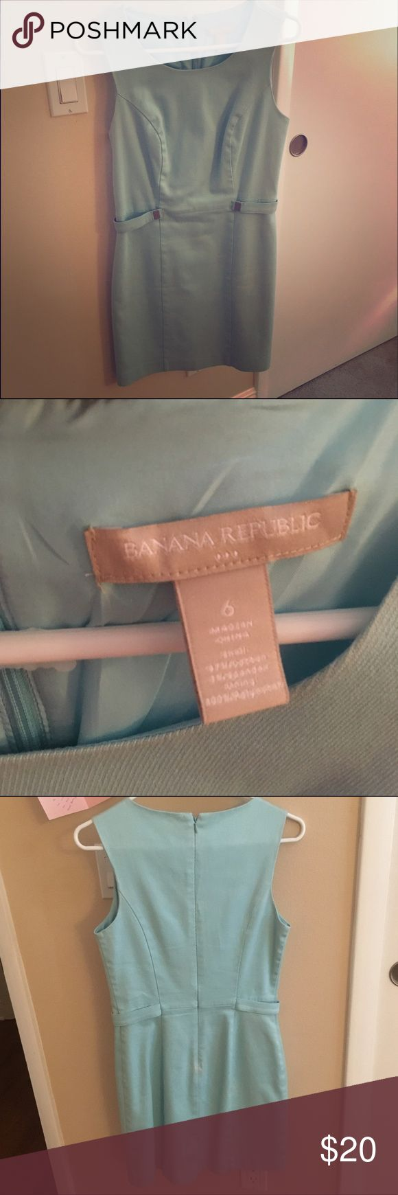 Banana Republic casual dress in Tiffany Blue Banana Republic casual dress in Tiffany Blue. Cotton Dress great for summer - has definition with the faux empire belt detail.  Zips In back. Banana Republic Dresses