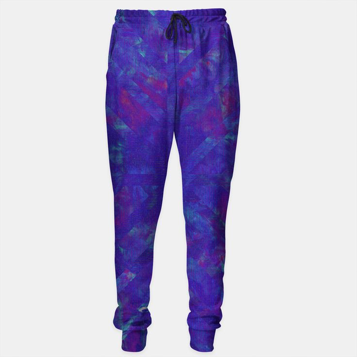 Painted Geometry 1 Sweatpants by Fimbis  _________________________________ purple, violet, ultra violet, stripes, cyan, fluid art, fluid painting, apparel, mens wear, women wear, kids wear, fashionista, fashion, style, colour of the year, color of the year, track pants,