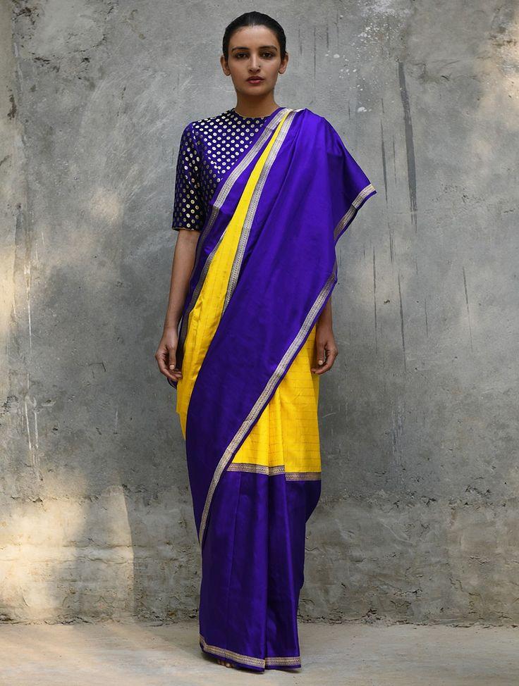 Buy Yellow-Blue Handwoven Silk Saree Online 4