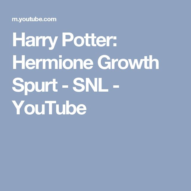 Harry Potter: Hermione Growth Spurt - SNL - YouTube