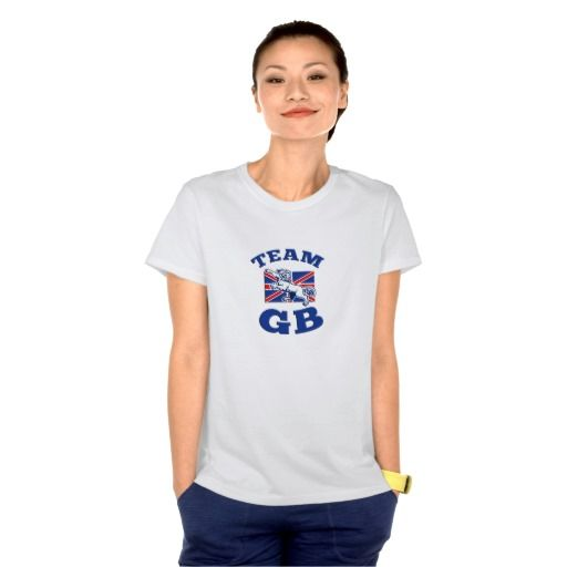 Team GB Lion sitting GB British union jack flag Tees. Rugby World Cup women's t-shirt with an illustration of a lion sitting on fours with Great Britain union jack flag in background. #rwc #rwc2015 #rugbyworldcup