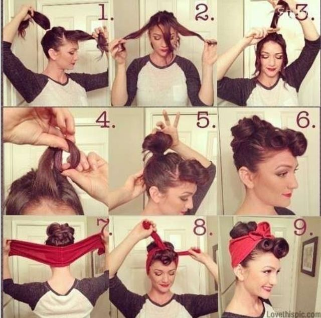 Pin up hair style, how to! Bun headband curls retro vintage hairstyle. Great for a quick easy last minute Halloween costume idea!!