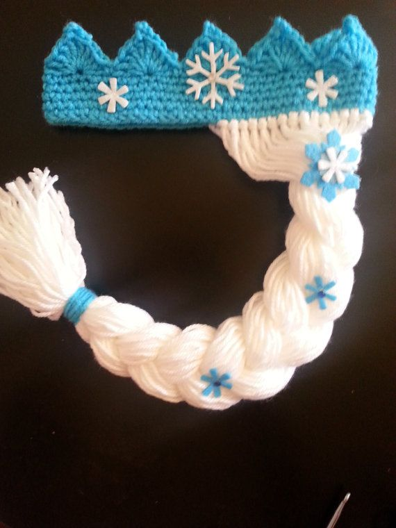 Frozen Elsa Crown with wig All Sizes Available by NanasKnotsofLove, $18.00