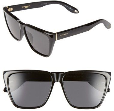 Women's Givenchy 58Mm Flat Top Sunglasses - Black/ Grey