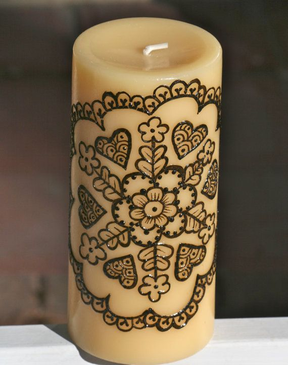 Henna Candle with Floral Mandala design yellow by RedwoodHenna, $30.00