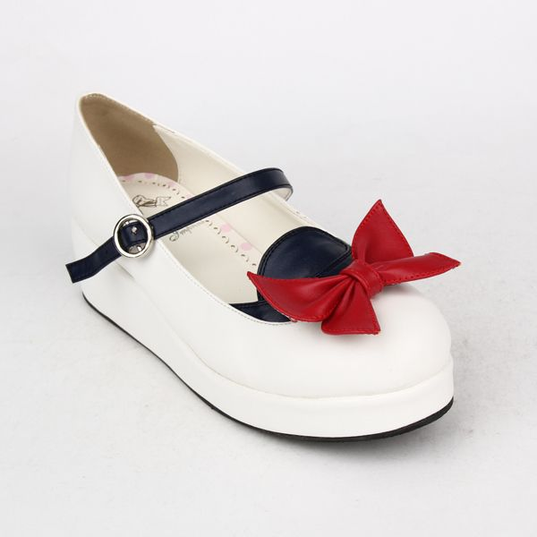 Angelic Imprint - 2015 Fall - Seifuku-inspired Mary Janes, round toe, muffin bottom, thin ankle strap with adjustable buckle closure, large bow detail. Heel Height:5cm Material:PU Leather (comparatively nondurable yet waterproof) Listing name:2015日系春秋新款海军鞋系列坡跟洛丽塔蝴蝶结甜美公主娃娃鞋8489 Price:¥ 168.00 - 188.00 ( which is around 25,00€) #Seifuku #Sailor #Navy #Uniform