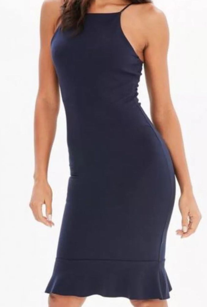 169a4b9921e Missguided Size 8 Navy Blue Scuba Square Neck Frill Hem Midi Dress  fashion   clothing  shoes  accessories  womensclothing  dresses (ebay link)