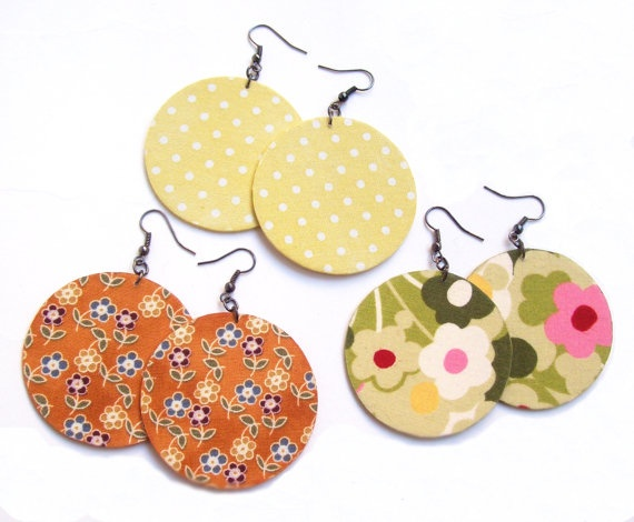 These decoupaged fabric earrings were made from fabric and paper. I pasted the fabric on thick paper with a special kind of glue. The earrings are varnished. I used nickel free earwires. (etsy store: adrisboltja)