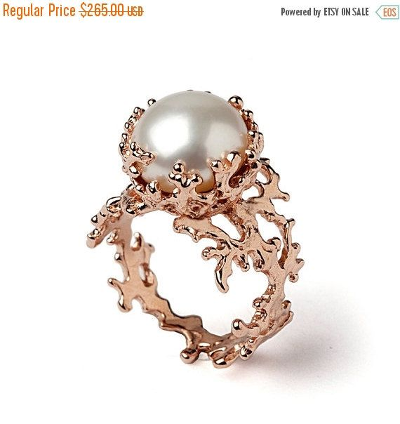 SALE 20% OFF  CORAL Rose Gold Ring Gold Pearl Ring by AroshaTaglia