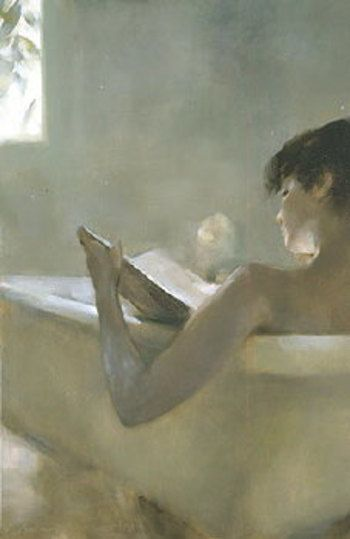 Woman Reading In Bath by Chen Bolen. Always a relaxing pleasure to take a nice bath.