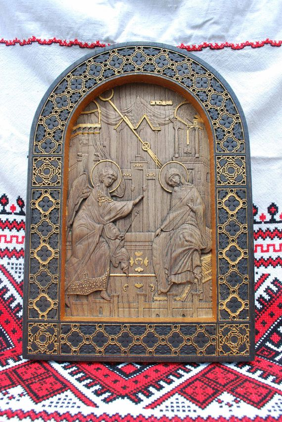 Annunciation Wood Carving christian gift Religious icon wall art christian gift Ukraine FREE SHIPPING