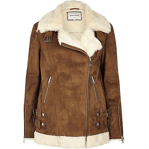 Faux suede with faux fur lining Oversized fit  Shearling collar Asymmetric zip…