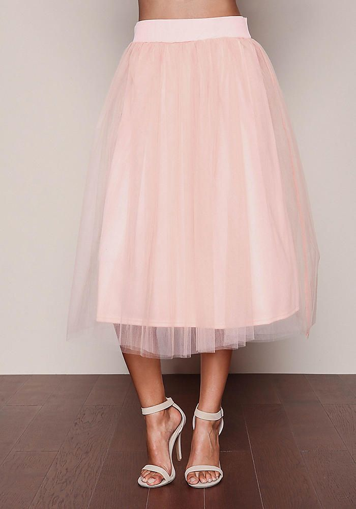 pink tulle midi skirt wedding pink