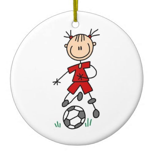 Girl Red Uniform Stick Figure Soccer Player Gifts Christmas Ornament