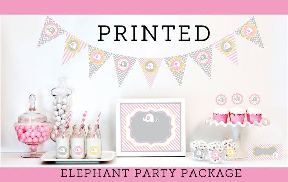 Elephant Baby Shower Decorations & Supplies KIT  by ModParty, $35.00