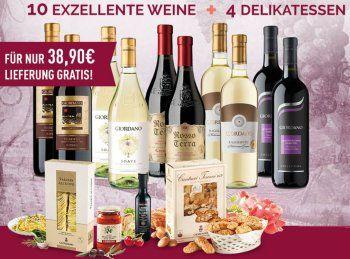 """Giordano: 14 Weine und 4 Delikatessen für 39,90 Euro frei Haus https://www.discountfan.de/artikel/essen_und_trinken/giordano-14-weine-und-4-delikatessen-fuer-39-90-euro-frei-haus.php Der Weinversand """"Giordano"""" wartet heute mit zwei attraktiven Paketen zu Schnäppchenpreisen auf: Für nur 39,90 Euro mit Versand gibt es 14 Weinflaschen und vier Delikatessen, für zehn Euro mehr kann man sich ein Weinpaket mit zwölf Flaschen, zwölf Tellern und sechs Delikatessen"""