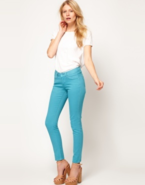 Enlarge ASOS PETITE Exclusive Skinny Jeans In Aqua #4 $34