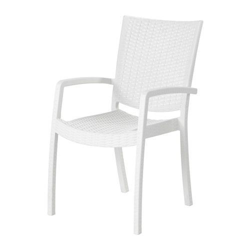 IKEA - INNAMO, Armchair, outdoor, white, , You can have several chairs on hand without taking up more space since they are stackable.The materials in this outdoor furniture require no maintenance.The chair will look fresher and last longer, as the plastic is both fade resistant and UV stabilized to prevent cracking and drying out.