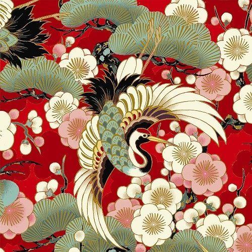 coupon de tissu patchwork japonais rouge magnifiques grues  45x55cm