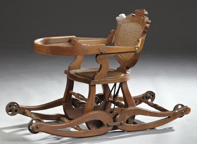American Carved Walnut Collapsible High Chair With A Woven Rattan Back And  Seat c.1890 - 141 Best Vintage High Chairs Images On Pinterest High Chairs