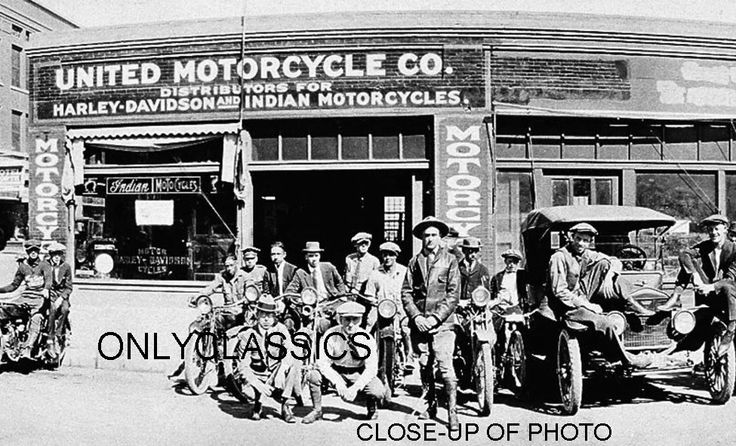 old motorcycle dealers | 1923 HARLEY DAVIDSON & INDIAN MOTORCYCLE DEALER LINEUP BIG-PANORAMIC ...