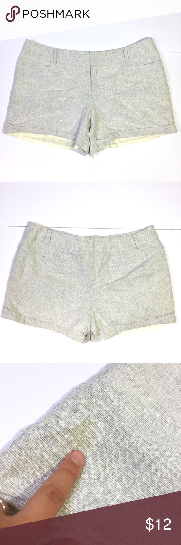 "Sparkly gray shorts - Size: 18 - Material: shell is 51% cotton, 27% linen, 12% polyester, 6% rayon, 4% other. Lining is 100% polyester - Condition: stains shown in photos. First is on the front, second is on the bottom hem of the lining, and third is on the back - Color: sparkly light gray - Pockets: fake pockets - Lined: yes - Closure: zipper and 2 metal clasps - Pair with: a white tee and sandals for a preppy modern look  *Measurements: Waist: 19.5"" flat Hips: 21"" flat Length: 14.5"" Rise…"